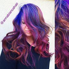 @sloth_dragon has literally the best hair  #annabiancahair #haircolor #hair #hairart #hairstyle #behindthechair #btconeshot_color #btcpics #modernsalon #hotonbeauty #model #color #colorful #worldofcolor #beautylaunchpad #beauty #salon #mermaidhair #purplehair #blue @seasonssalonspa @behindthechair_com @modernsalon @hotonbeauty @bangstyle @hotonbeauty @stylistshopconnect