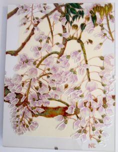 """Tableau peinture sur verre """"GLYCINES"""" : Peintures par mamycole"""