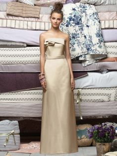 (NO.018665 )Sheath / Column Strapless Ruffles  Sleeveless Floor-length Satin Ivory Bridesmaid Dress / Prom Dress / Evening Dress