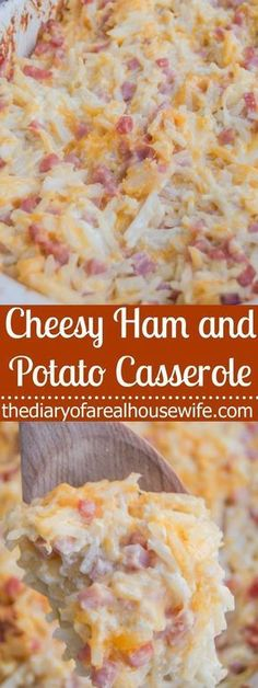 Cheesy Ham and Potato Casserole. This is one of the BEST casserole recipes. I love making this after christmas with our leftover ham. #beeffoodrecipes