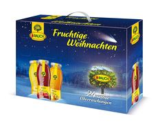 Juice advent calendar with 22 unique juices in 0.2l bottles, 2 juice glasses and one flip-top apple juice bottle with 0.9l. Available from Amazon.de