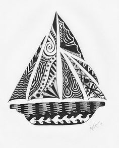 Zentangle, Yacht, sailing boat, tall ship, sloop, boat, sailing, blue, valentine www.etsy.com