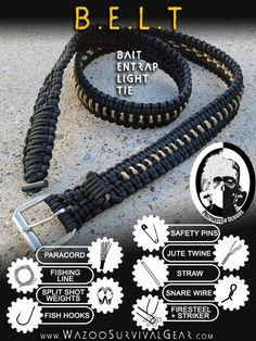 Paracord Survival Kit BELT. Perfect for the 9-5 office worker prepper who can not wear a bracelet.: