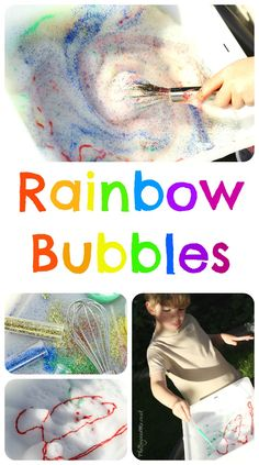 A GO IN WATER TROUGHS Rainbow Bubbles (Sensory Play): whip up a foam frenzy with bubble mix and see how many rainbow swirls you can make in it. Uses food colouring or paint, glitter and a whisk! Bubble Activities, Eyfs Activities, Weather Activities, Color Activities, Activities For Kids, Indoor Activities, Classroom Activities, Colored Bubbles, Rainbow Bubbles