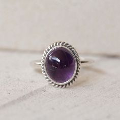 Entity Ring by Don Biu handcrafted with LoVe. Simple Gemstone Sterling Silver Ring, Amethyst Rope, Bohemian Ring, Rings, Personalized, Twist, Small Ring, Stack Ring, Gypsy Ring ✤ AMETHYST SIMPLE ROPE #SterlingSilverRings