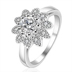 2015 New The Hot Free Shipping  Size:7,8 Wholesale 925 Silver Ring, 925 Silver Fashion Jewelry, Inlaid Stone Sunflower Ring