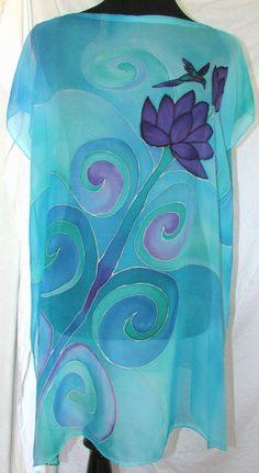 slik top chiffon silk tunic silk caftan hand by HeavenOnEarthSilks