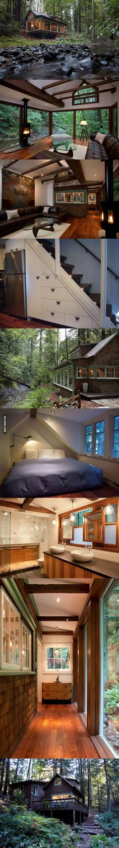 Lots of Windows Tiny house cabin Cabin Homes, Log Homes, Tiny Homes, Tiny House Living, My House, Living Room, Chalet Modern, Modern Cabins, Modern Cottage