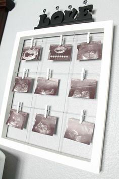 Gender neutral nursery with elephant theme. Picture frame from Pier One.