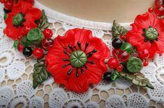 Necklace Poppy Poppy jewelry Poppies necklace by HandStudioUA