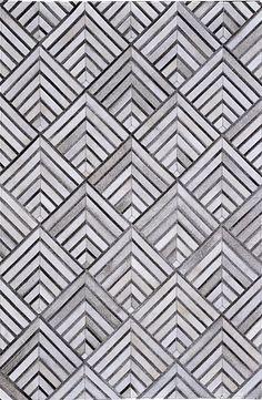 Madisons Geometric Grey Patchwork Cowhide Rug - Posh Rug