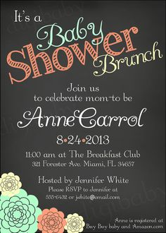 Brunch Baby Shower Invitation, Chalkboard Brunch Baby Shower, Custom  Colors, Gender Neutral, Printable Digital File