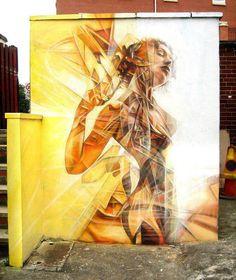 Fresque murale : Femme nue fragmenté
