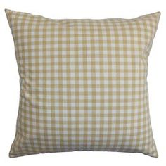 """Plaid cotton pillow with a feather-down fill. Made in the USA.  Product: PillowConstruction Material: Cotton cover and feather down fillColor: Gold and whiteFeatures:  ReversibleInsert includedHidden zipper closure Dimensions: 18"""" x 18""""Cleaning and Care: Spot clean"""