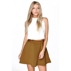 Boohoo Night Electra Deep Rib Full Skater Skirt ($16) ❤ liked on Polyvore featuring skirts, olive, white a line skirt, olive green maxi skirt, white skater skirt, white skirt and bohemian maxi skirt