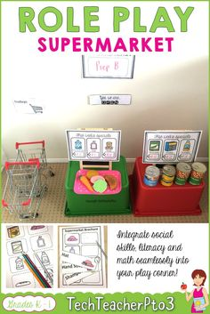 Role Play Areas Early Years - Supermarket. Some fantastic activities for your primary students which integrates social skills, math and literacy into your home corner role play! #roleplay #dramaticplay #teacherspayteachers #supermarket