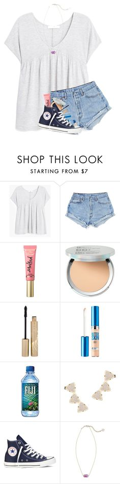 """""""So you got that last set to 30 likes!!! So here's a couple pictures of me Please no hate!!"""" by kat-attack on Polyvore featuring MANGO, Too Faced Cosmetics, It Cosmetics, Stila, Maybelline, Kendra Scott, Converse, vbkfashions and vbkprep"""