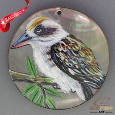 HAND PAINTED BIRD NATURAL MOP MOTHER OF PEARL SHELL NECKLACE PENDANT ZH30 00027 #ZL #PENDANT