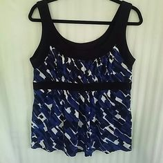 Black and Blue Michael Kors Top Relaxed, soft Michael Kors dress tank. Colors are vibrant and pretty. Tops Tank Tops