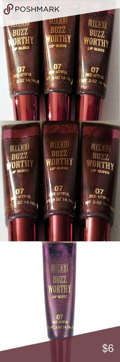 3 -MILANI Buzz Worthy LIP GLOSS Bundle! PLUM! New! 3 x MILANI Buzz Worthy LIP GLOSS in *Bee-utiful #07*  Dark Plum New/Sealed! Milani Makeup Lip Balm & Gloss