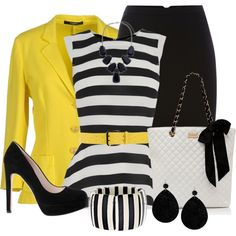 Black and White Strip w/Yellow by penny-martin on Polyvore featuring moda, Oasis, Snobby Sheep, Pied a Terre, Forever New, Fornash, John Lewis, Dsquared2 and De Siena