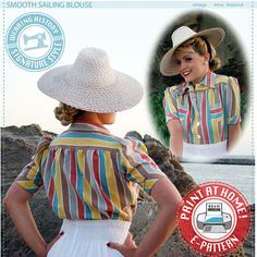 Retro Sewing Smooth Sailing Sports Togs Pattern - Wearing History Vintage Clothing and Sewing Patterns Dress Sewing Patterns, Blouse Patterns, Vintage Sewing Patterns, Sewing Ideas, Vintage Looks, Retro Vintage, Vintage Vogue, Pattern Fashion, Vintage Outfits