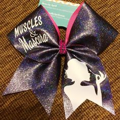 Muscles and Mascara Black Iridescent Glitter Cheer Bow - Bows by April