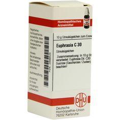 EUPHRASIA C 30 Globuli:   Packungsinhalt: 10 g Globuli PZN: 02898525 Hersteller: DHU-Arzneimittel GmbH & Co. KG Preis: 5,50 EUR inkl. 19…