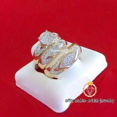 14k Yellow Gold Trio Engagement Ring Bridal Band Set Round Cut 2.50 Ct Diamond #affordablebridaljewelry