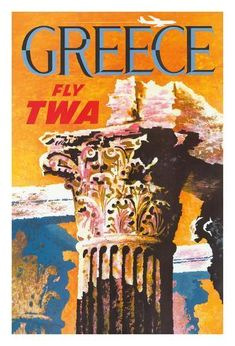 TWA Greece poster by David Klein 1959 America USA - Beautiful Vintage Poster Reproduction. American travel poster features the top of an ancient column and a plane flying across the orange sky. Retro Poster, Vintage Travel Posters, Vintage Airline, Party Vintage, Vintage Art, Travel Wall Art, Original Travel, Orange Sky, Poster Prints