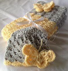 Crochet Baby Girl Blanket - The Krystle/Kate Baby Hat/Blanket Gift Set- Travel/Stroller Sized Blanket- Baby Blanket Photo Prop. $40.00, via Etsy.