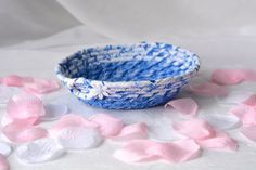 I Handmade this cute Blue Jewelry Holder ....Handmade by me... Cute Blue Bowl, Candy Dish, Ring Holder by WexfordTreasures