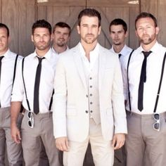 8 different groomsmen styles...those are some good looking groomsmen!