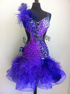 Feather Latin Rhythm Salsa US6 Ballroom Competition Dance Dress #L2183 Purple