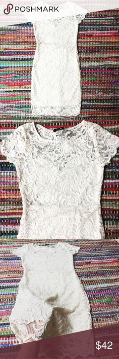 NWOT Cream Floral lace dress off white lined nude Breathtakingly beautiful!  Cream lace sweetheart underlay bust  All but upper back Lined. Soft & form fitting. Fits Med & S  Tagged Juniors Size Medium.  No trading, Happy Poshing  Ambiance Apparel Dresses Mini