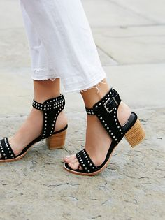 Suede open toe shoes featuring allover metal stud detailing and an adjustable ankle strap. Stacked block heel and a padded footbed for extra comfort. Cute Shoes, Me Too Shoes, Flats, Shoes Sandals, Avon, Studded Sandals, All About Shoes, Open Toe Shoes, Crazy Shoes