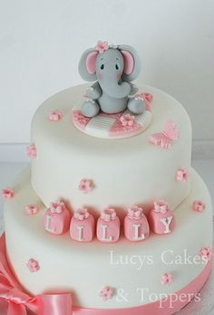 Elephant christening birthday cake topper set by www.lucys-cakes.com, via Flickr