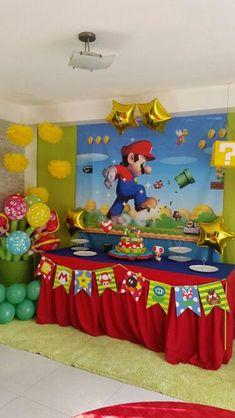 decoracion de mario bros para cumpleaños pared