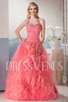 New Style Halter Ball Gown Lace-up Yana's Prom Dress.