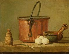 Still Life Of Cooking Utensils, Cauldron, Frying Pan And Eggs Giclee Print Poster by Jean Baptiste Simeon Chardin Online On Sale at Wall Art Store – Posters-Print.com