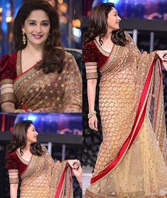 Madhuri dixit style beige and red net saree beautified with fancy embroidery work. The saree comes with maroon colored velvet embroidered blouse and beige color satin petticoat fabric. This saree is a. Source by Blouses Sari Blouse Designs, Fancy Blouse Designs, Blouse Patterns, Golden Blouse Designs, Choli Designs, Lehenga Designs, Indian Party Wear, Indian Wedding Outfits, Indian Outfits