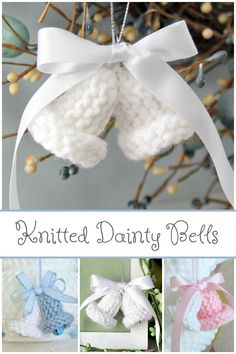 Easy vintage pattern for knitted dainty bells work up quickly and are sweet for holiday tree ornaments, baby or wedding shower favors and corsages.