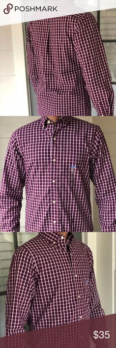 Van Heusen Men's Button Down Shirt Slim Fit XXL 100% Authentic Brand New Men's Van Heusen Plaid Maroon Slim Fit Button Down Full Sleeves Shirt!  New with tags  MSRP- $58+tax  Button down  Full sleeves  Size 2XL/XXL  Slim fit  Fast Shipping!  The measurements are approximate, the model is wearing a small:  XXL:  Length: 30 inches Sleeves: 27 inches Chest: 26 inches Collar: 18 1/2 Van Heusen Shirts Dress Shirts