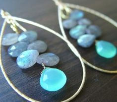 Labrodite and chalcedony briolette wire earrings by azibrn