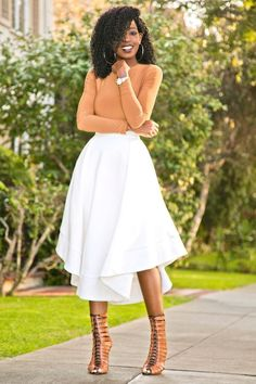 Long Sleeve Bodysuit + Wave Swing Midi Skirt