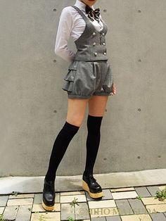 Kodona Japanese Street Style Harajuku Mode – Schüler – Street Fashion - New Sites Kawaii Clothes, Kawaii Dress, Gothic Fashion, Asian Fashion, Steampunk Fashion, Cute Fashion, Fashion Outfits, Fashion Clothes, Style Fashion