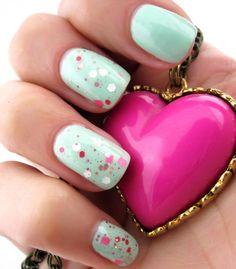 #tiffany nails - pink glitter on pastel blue nails #mint