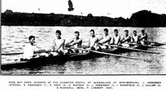 1928 Wide Bay Crew Winners of the Champion Eights of Queensland at Maryborough. J Anderson (Stroke), A Anderson (7), R Weir (6), S Watson (5), L Anderson (4), J Mansfield (3), J Cullen (2) D McDowell (Bow) and P Lambert (Cox)
