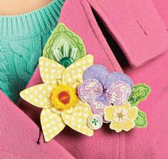 Floral Brooch and Card for Mum