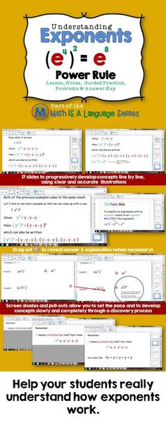 Exponents: Power Rule Lesson and Problems